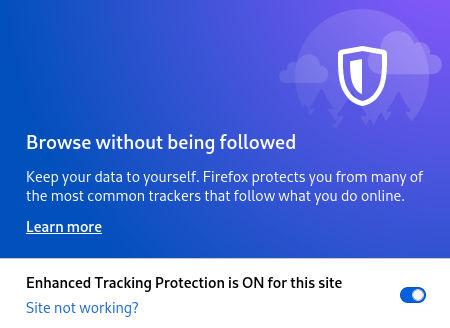 Firefox блокирано проследяване